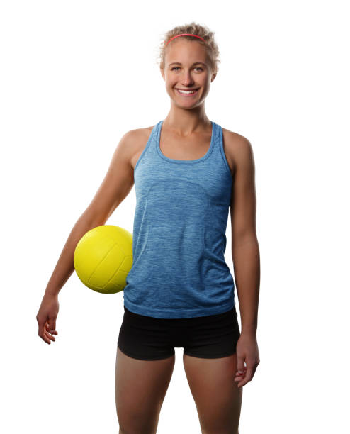 Teenage female volleyball player isolated white stock photo