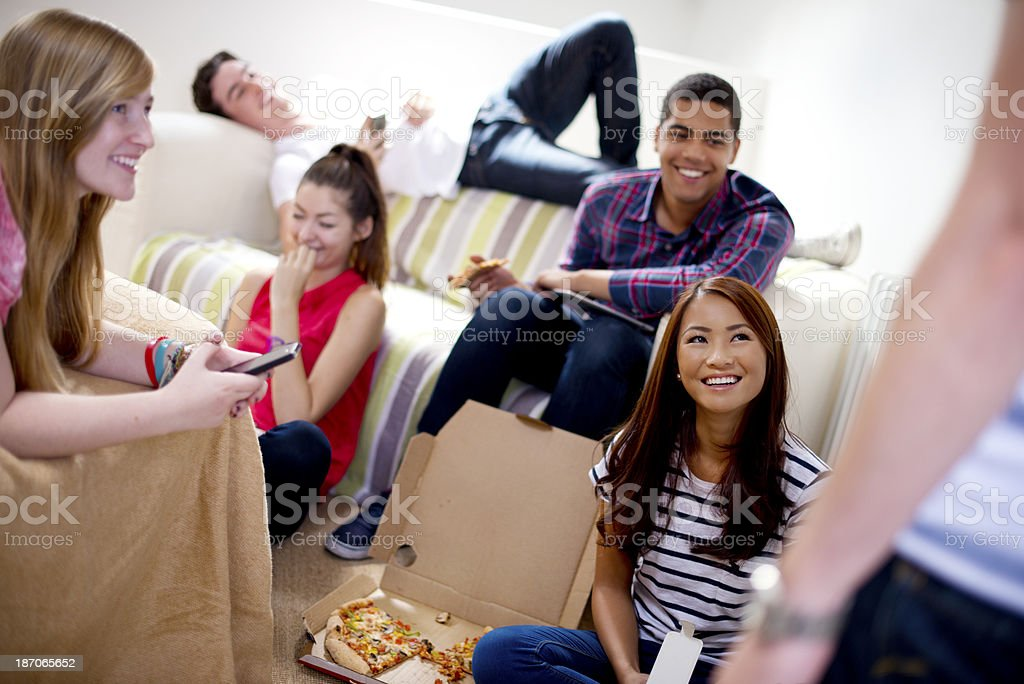teenage friends hanging out stock photo