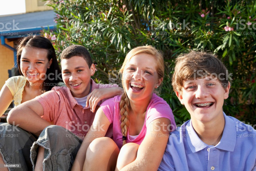 Teenage friends hanging out together royalty-free stock photo