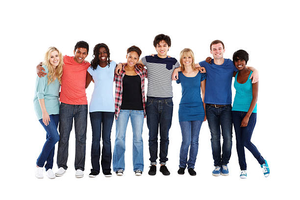 teenage friends standing together - teenager stock photos and pictures