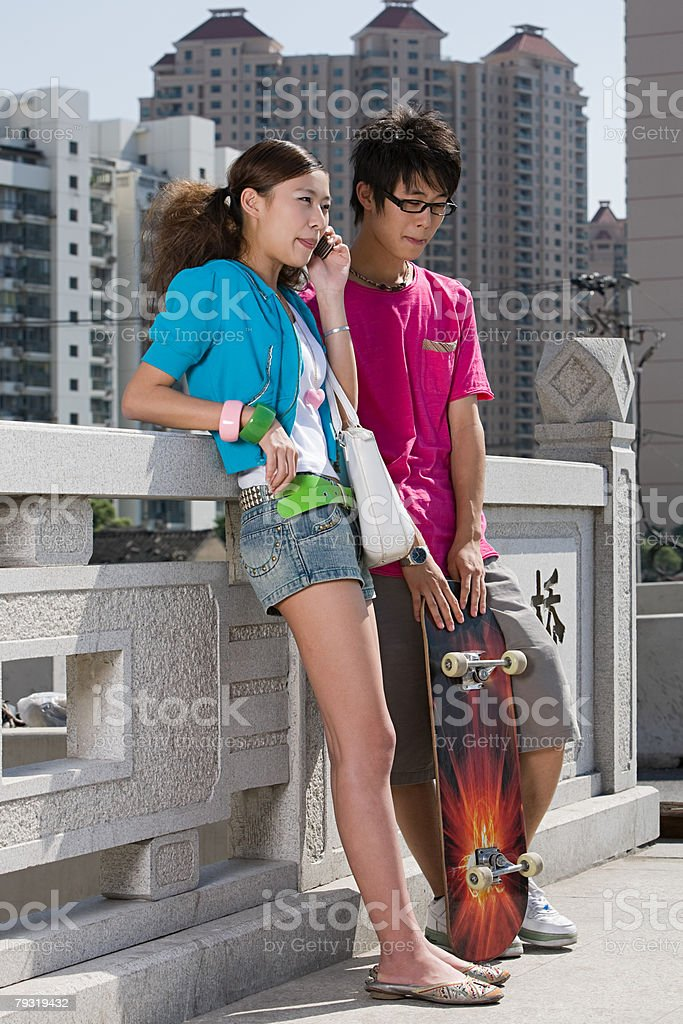Teenage girl and boy 免版稅 stock photo