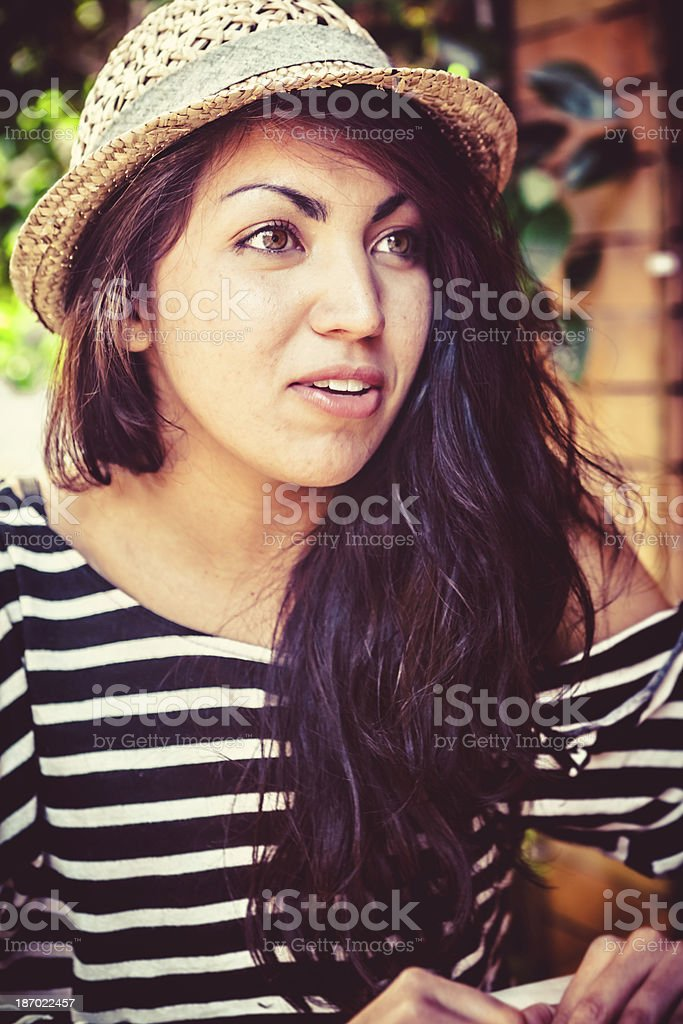 Teenage Girl at the Outdoors Cafe royalty-free stock photo