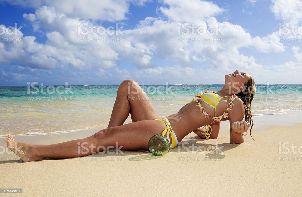 teenage girl by the ocean royalty-free stock photo