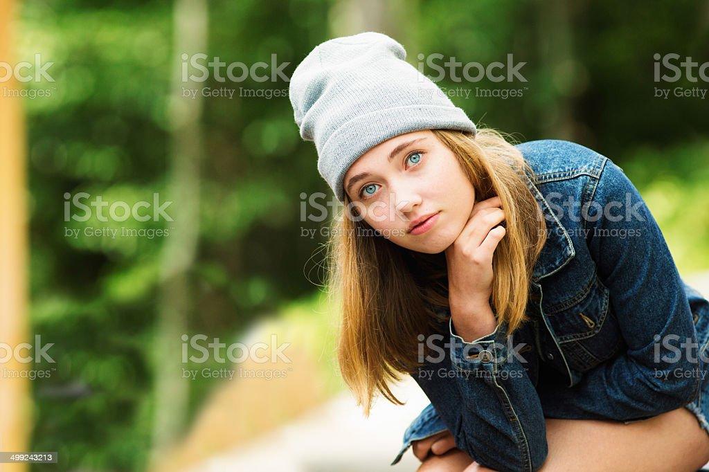 Teenage girl camping morning portrait royalty-free stock photo