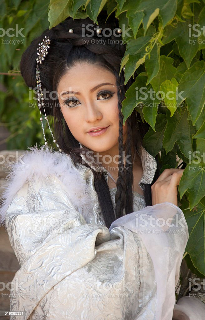 PEOPLE: Teenage girl cosplay traditional Han Dynasty character stock photo