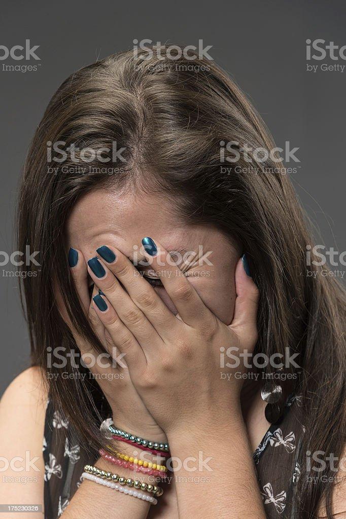 teenage girl crying royalty-free stock photo