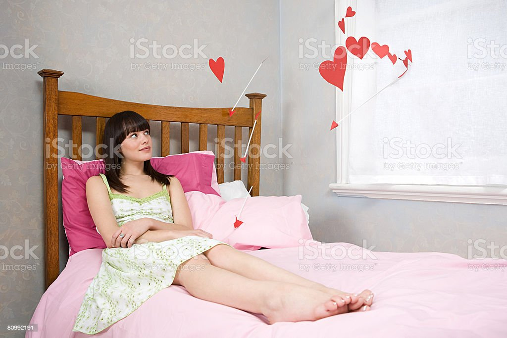 A teenage girl daydreaming of love royalty-free stock photo