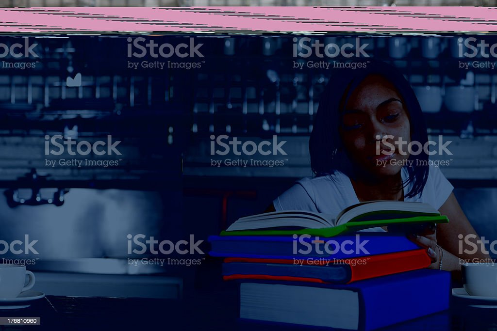 Teenage girl doing homework royalty-free stock photo