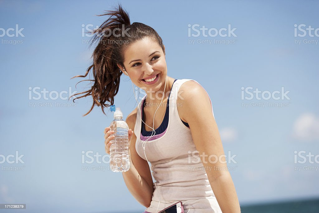 teenage girl drinking water royalty-free stock photo