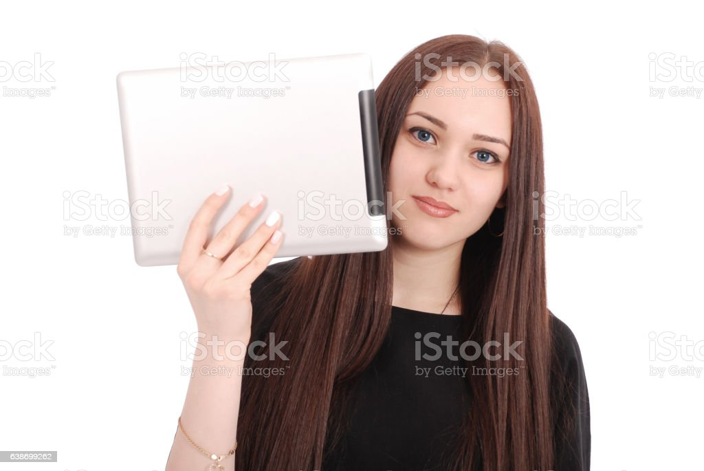 Teenage girl emotions. Girl showing a blank tablet screen stock photo