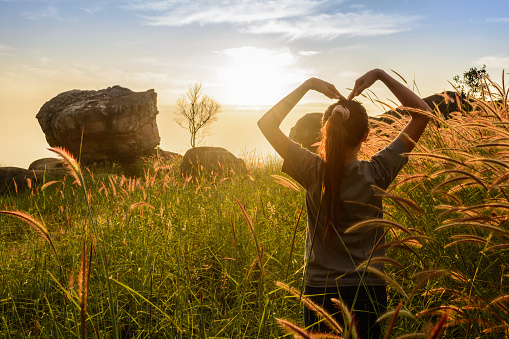 523172398 istock photo Teenage girl enjoy with sunshine in wheat field 535466763