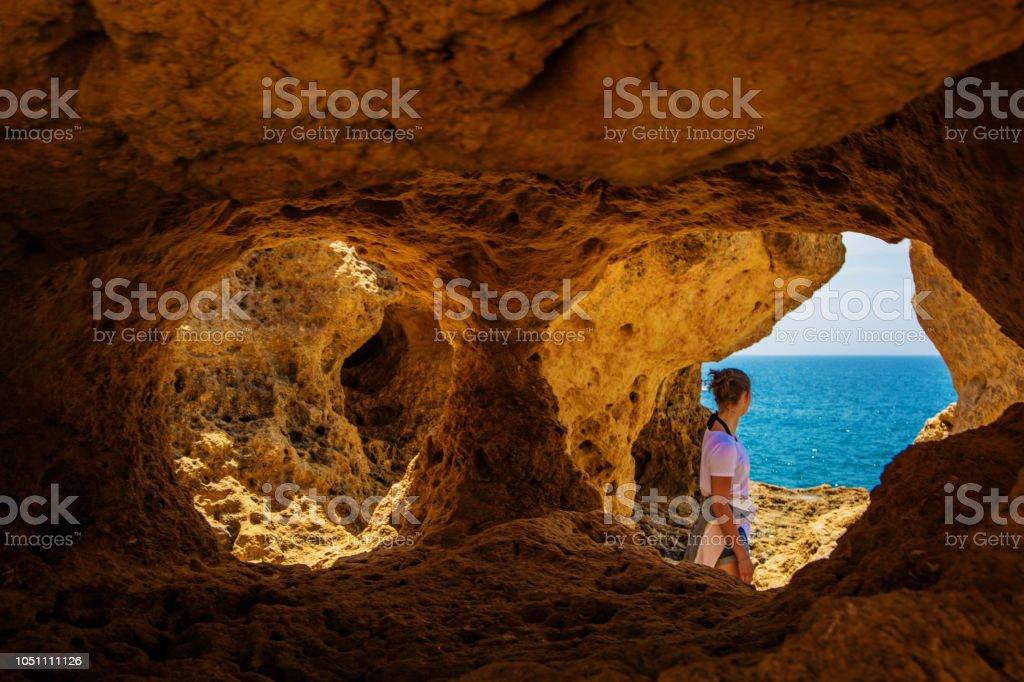 Teenage Girl enjoying nature in Portugal - fotografia de stock