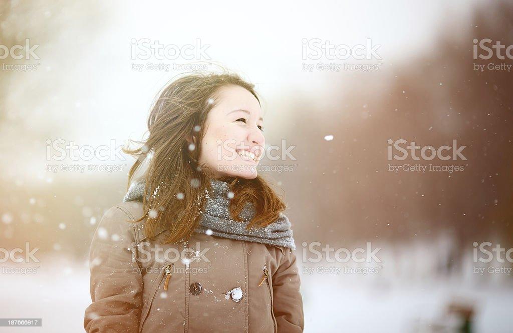 Teenage girl enjoying winter royalty-free stock photo