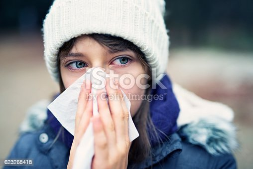 istock Teenage girl having autumn cold 623268418