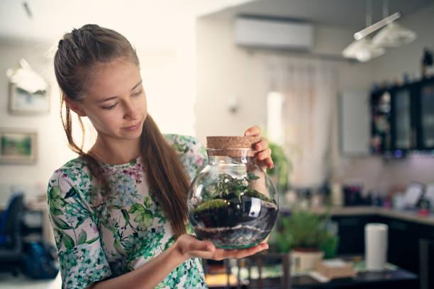 teenage-mädchen hält einen flaschengarten - terrarienpflanzen stock-fotos und bilder