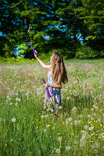 Teenage girl in a field of flowers stock photo