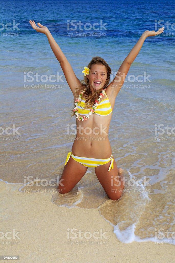 teenage girl in bikini at a hawaii beach royalty-free stock photo