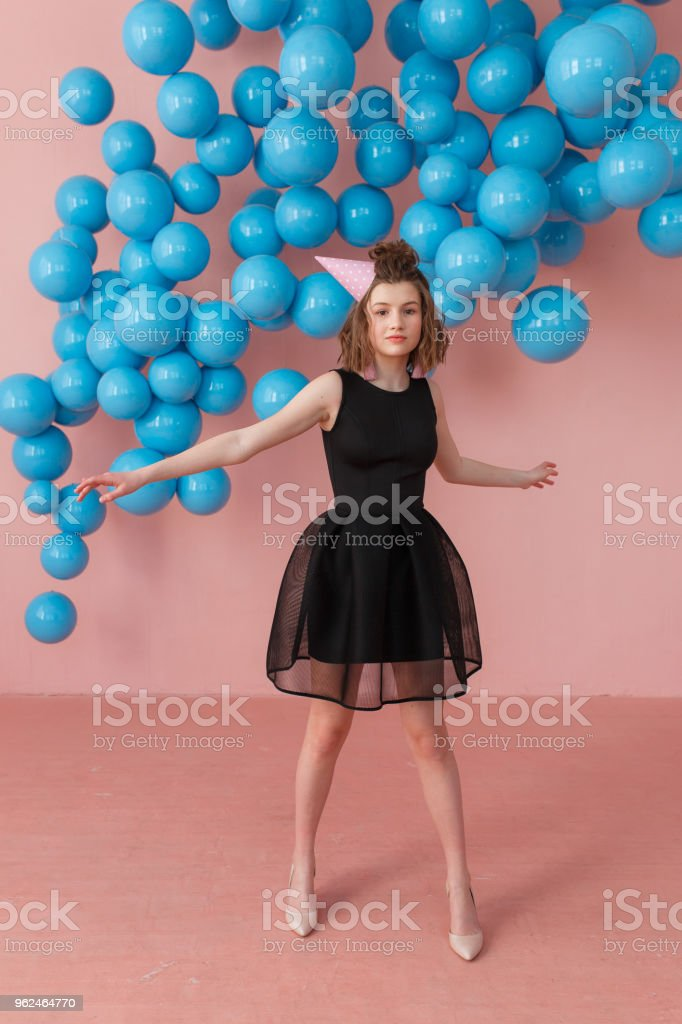 b3a974d32 Teenage Girl In Black Dress Dancing Alone On Her Birthday Party Pink ...