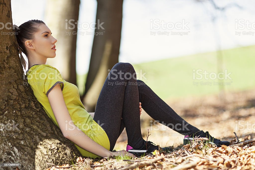 Teenage Girl In Forest royalty-free stock photo