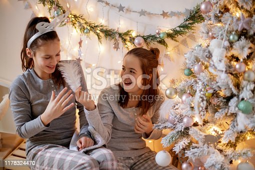 Teenage girl in pajamas tickling her smiling friend by the Christmas tree