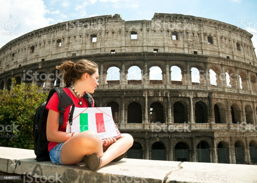 Teenage girl in Rome royalty-free stock photo