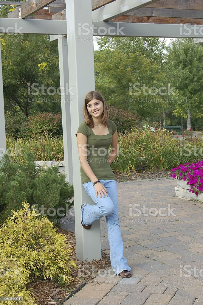 Teenage Girl In The Garden royalty-free stock photo