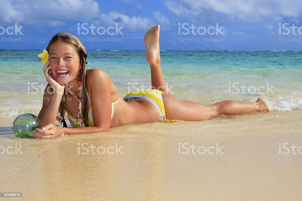 teenage girl in the ocean royalty-free stock photo