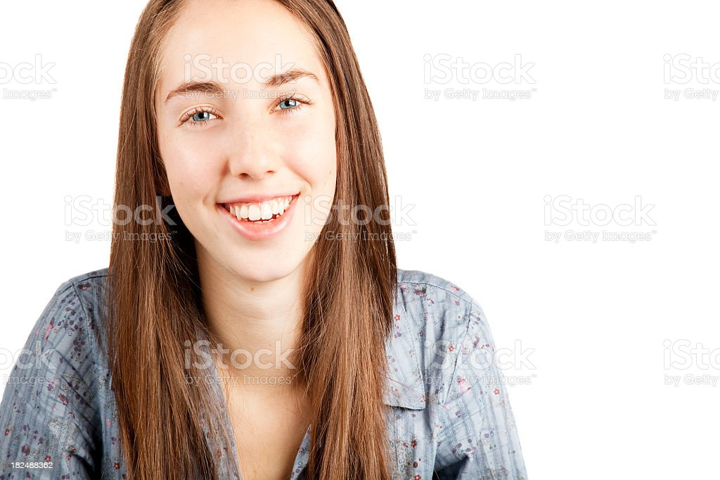 teenage girl isolated on white headshot smiling perfect complexion stock photo