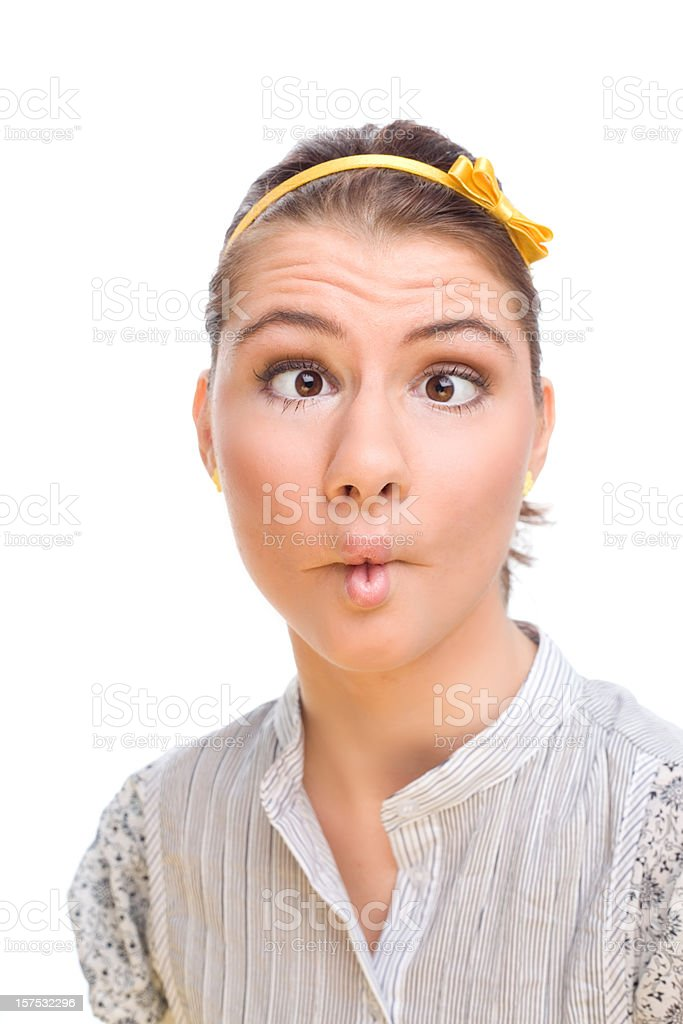 Teenage Girl Making Faces, Studio Portrait royalty-free stock photo