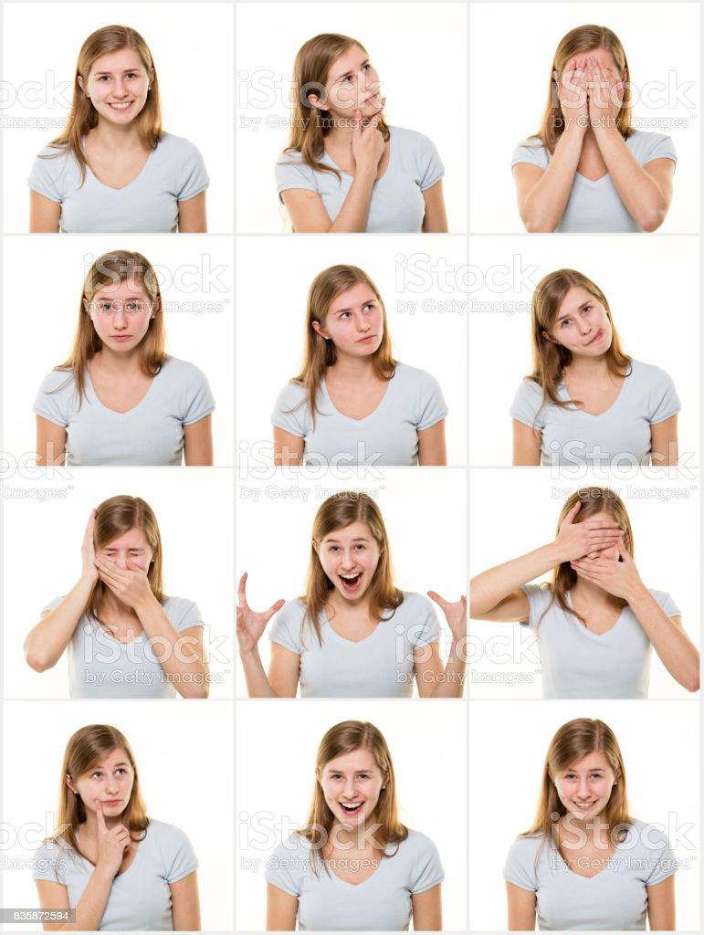 Teenage girl making facial expressions stock photo