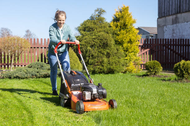 teenage girl mowing grass teenage girl working in garden, mowing grass with lawn-mower mowing stock pictures, royalty-free photos & images