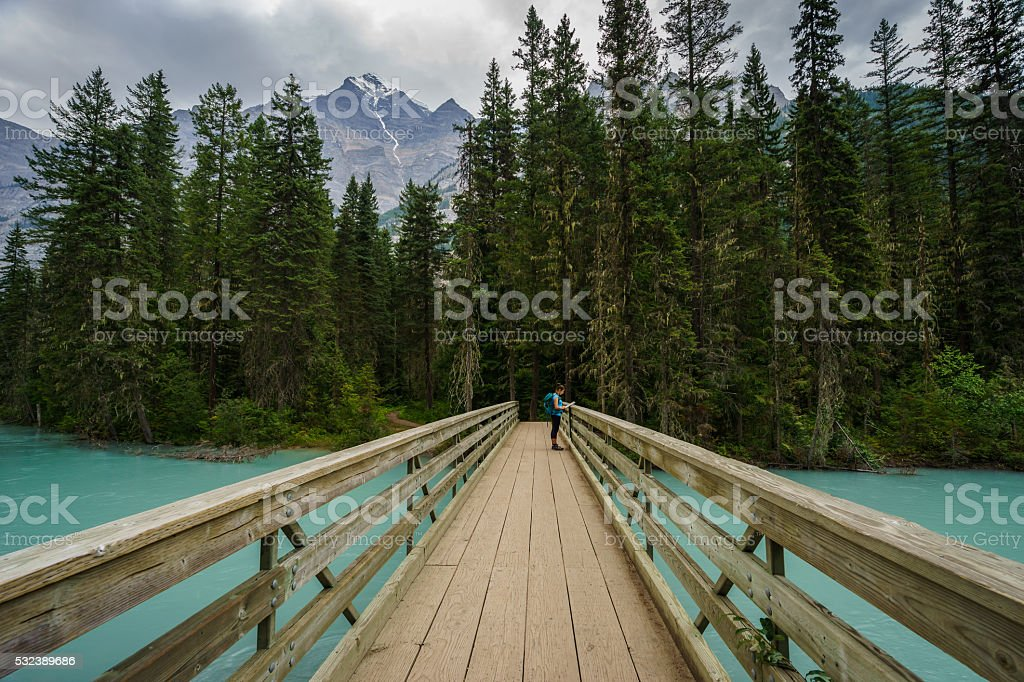 Teenage Girl on Berg Lake Trail stock photo