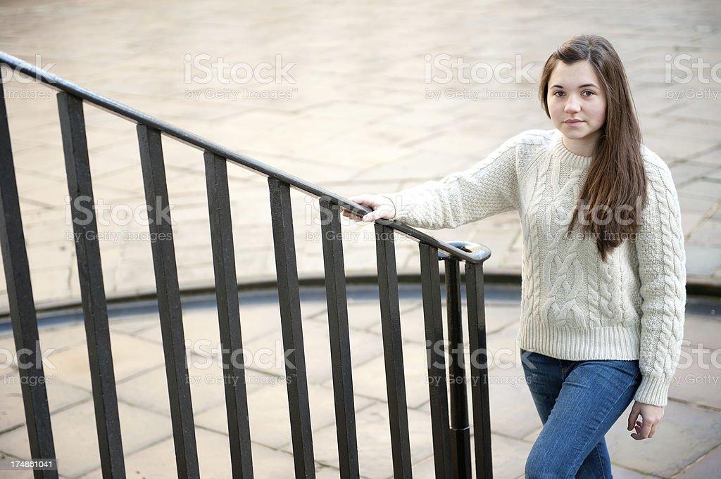 Teenage Girl On Stairs royalty-free stock photo