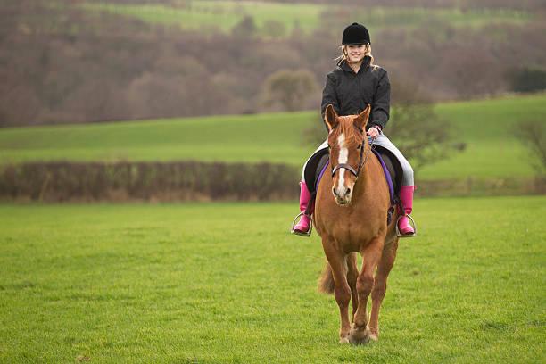 10 代の少女の馬の乗馬フィールド - 乗馬 ストックフォトと画像