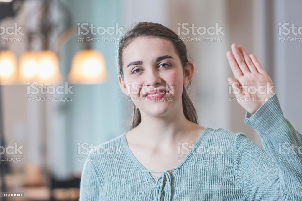 Teenage girl saying hello in sign language stock photo more teenage girl saying hello in sign language royalty free stock photo m4hsunfo