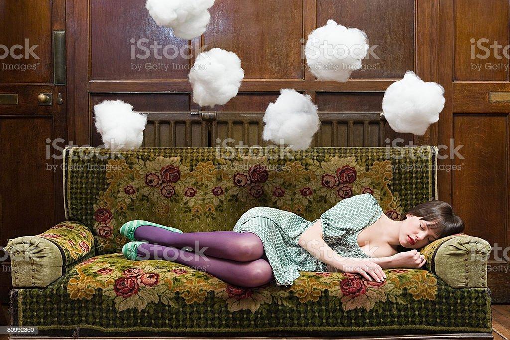 A teenage girl sleeping stock photo