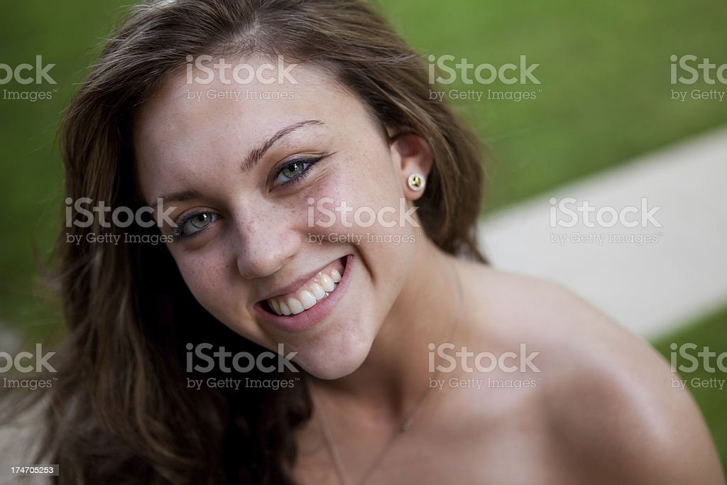 Teenage Girl Smile stock photo