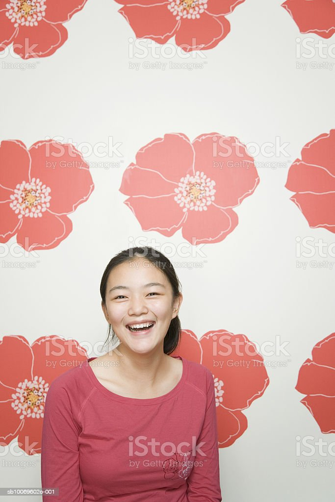 Teenage girl (13-14) smiling royalty-free stock photo