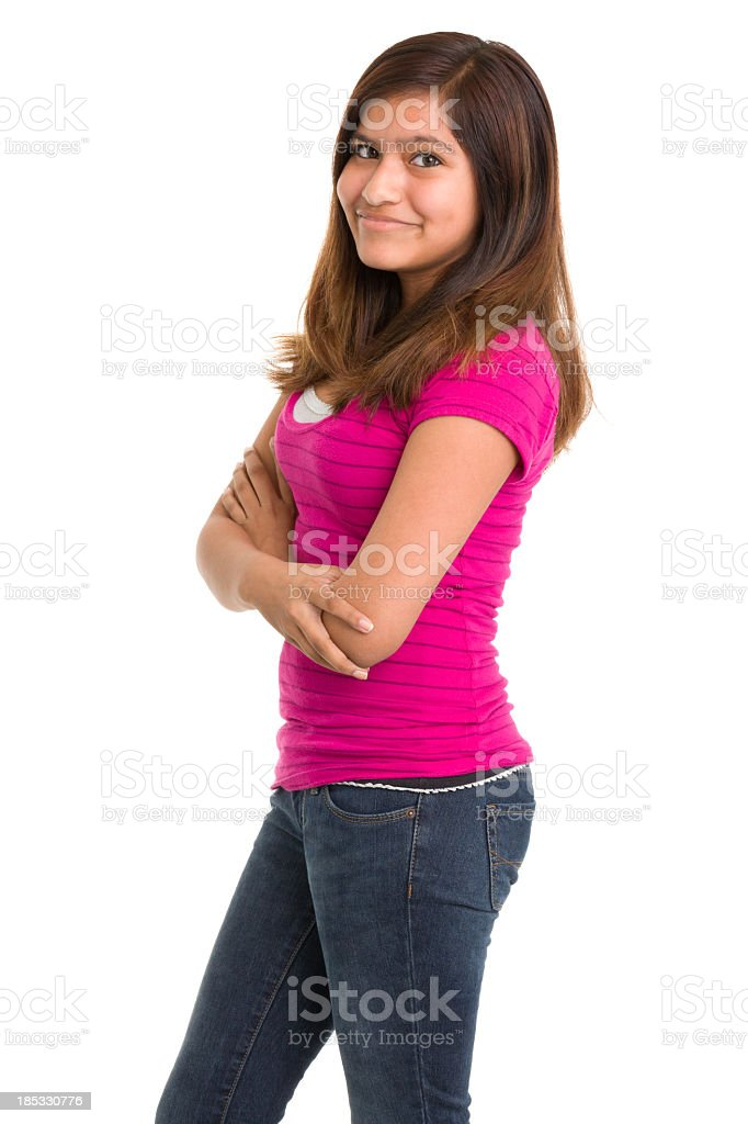 Teenage Girl Standing Three Quarter Portrait royalty-free stock photo