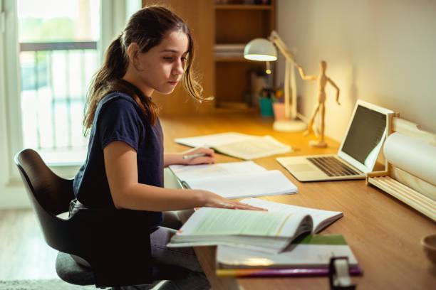 Teenage girl studying in her room stock photo