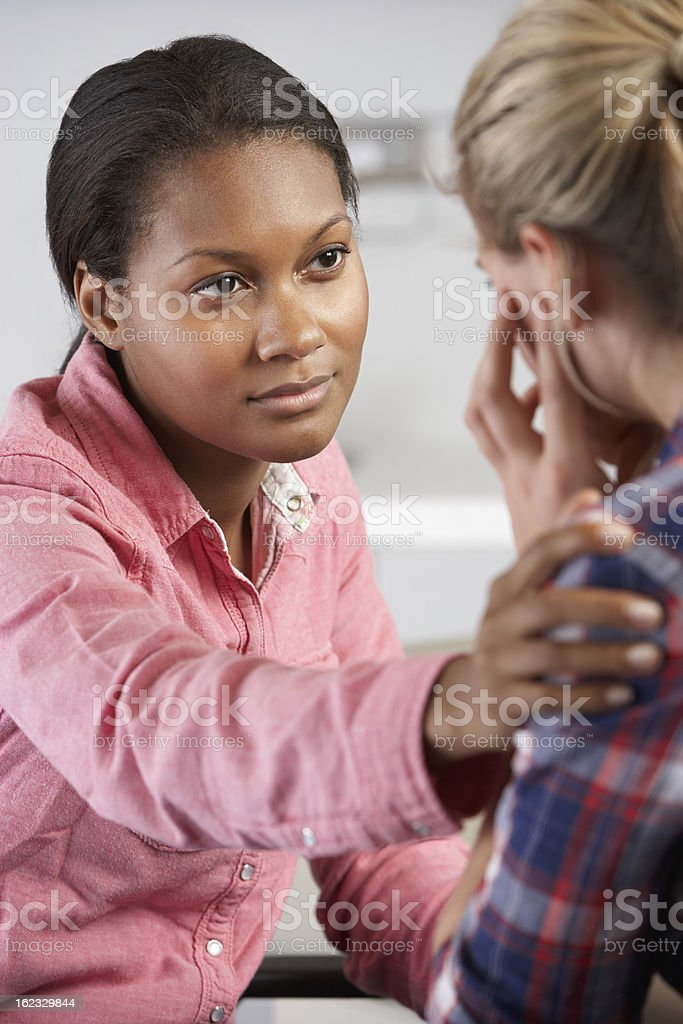 Teenage Girl Visits Doctor's Office Suffering With Depression royalty-free stock photo