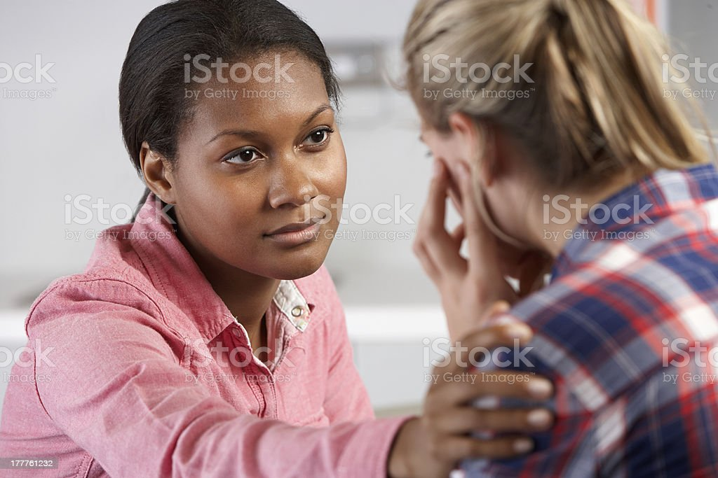 Teenage Girl Visits Doctor's Office Suffering With Depression stock photo