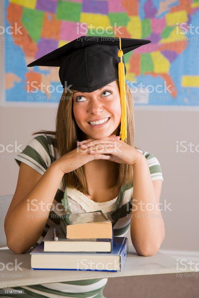 Teenage Girl Wearing a Graduation Cap royalty-free stock photo