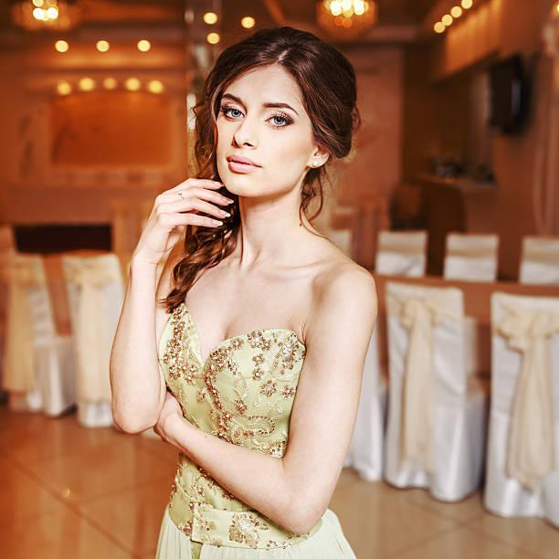 Teenage girl wearing fancy dress. stock photo