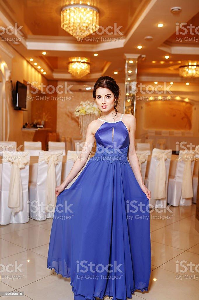 Teenage Girl Wearing Fancy Prom Dress Posing On Schoolleaving Party ...