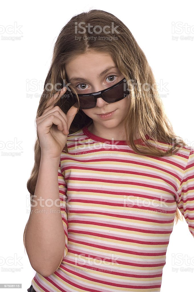 Teenage girl wearing sunglasses isolated on white royalty-free stock photo