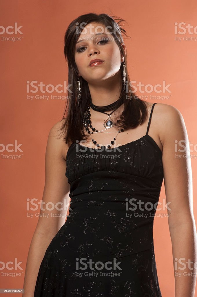Teenage Girl With Attitude In A Black Dress Stock Photo More