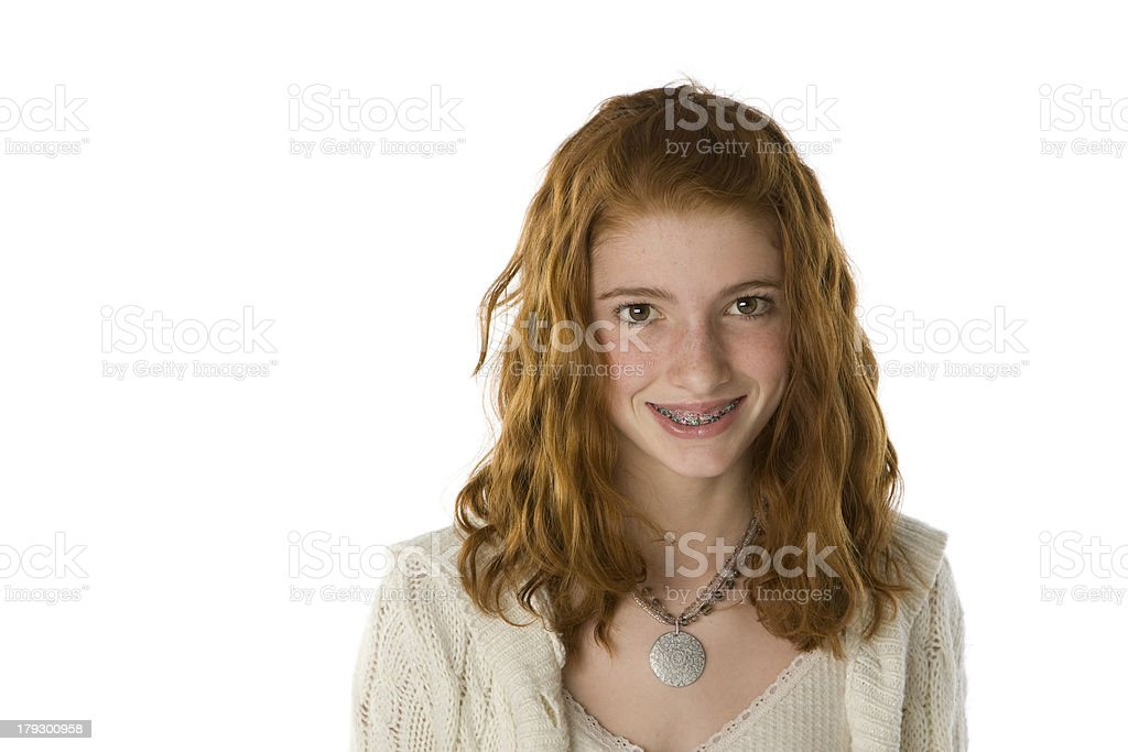 Teenage Girl with Braces Smiling royalty-free stock photo