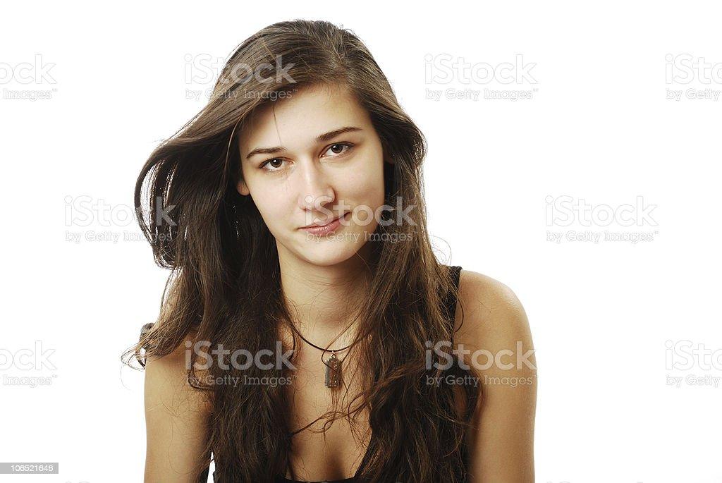 Teenage girl with derisive look stock photo