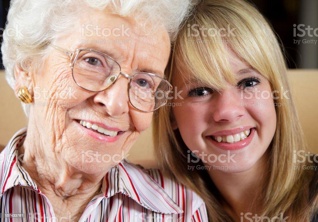 Teenage Girl with Grandmother royalty-free stock photo
